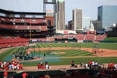 Busch Stadium - St. Louis Cardinals. Batting practice at the downtown ballpark of the Cardinals, with the city skyline Stock Photos