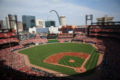 Busch Stadium - St. Louis Cardinals. Downtown ballpark of the Cardinals, with the city skyline and Gateway Arch Stock Image