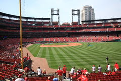 Busch Stadium - St. Louis Cardinals. Batting practice fans at the downtown ballpark of the Cardinals, with the city skyline Royalty Free Stock Photo