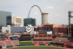 Busch Stadium - St. Louis Cardinals. Downtown ballpark of the Cardinals, with the city skyline and Gateway Arch Royalty Free Stock Photography