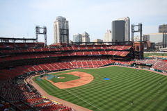 Busch Stadium - St. Louis Cardinals. Batting practice at the downtown ballpark of the Cardinals, with the city skyline Royalty Free Stock Photography