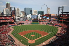 Busch Stadium - St. Louis Cardinals. Downtown ballpark of the Cardinals, with the city skyline and Gateway Arch Stock Photography
