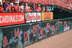 Busch Stadium - St. Louis Cardinals. Fans watch batting practice near the retired numbers at the downtown ballpark of the Cardinals Royalty Free Stock Images