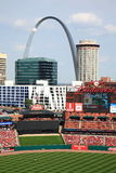 Busch Stadium - St. Louis Cardinals. Busch Stadium, downtown ballpark of the St. Louis Cardinals, with the city skyline and Gateway Arch Stock Images