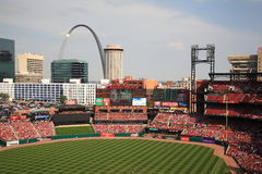Busch Stadium - St. Louis Cardinals. Downtown ballpark of the Cardinals, with the city skyline and Gateway Arch Royalty Free Stock Photos