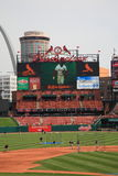 Busch Stadium - St. Louis Cardinals. Scoreboard at the downtown ballpark of the Cardinals, with the city skyline and Gateway Arch Royalty Free Stock Photography