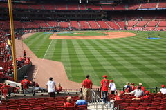 Busch Stadium - St. Louis Cardinals. Batting practice at Busch Stadium, the downtown ballpark of the Cardinals. Fans wait for a home run baseball Royalty Free Stock Photography