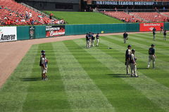 Busch Stadium - St. Louis Cardinals. San Diego Padre baseball players during batting practice at Busch Stadium, home of the St. Louis Cardinals Stock Photos
