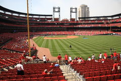 Busch Stadium - St. Louis Cardinals. Batting practice at Busch Stadium, the downtown ballpark of the St. Louis Cardinals, with the city skyline Royalty Free Stock Photography