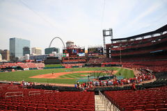 Busch Stadium - St. Louis Cardinals. Busch Stadium, downtown ballpark of the St. Louis Cardinals, with the city skyline and Gateway Arch Royalty Free Stock Images