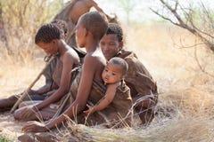 Buschmänner der Kalahari-Wüste Stockfotos