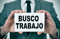 Busco trabajo, looking for a job in spanish Stock Photos