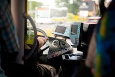 Busdriver在驾驶舱内 免版税图库摄影