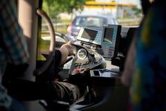 Busdriver in einem Cockpit stockbilder