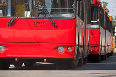 Buses. In a row on rush hour traffic jam Royalty Free Stock Images