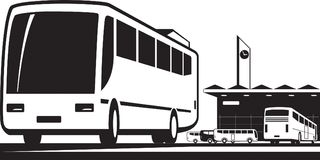 Buses arrive and depart at station Royalty Free Stock Photography
