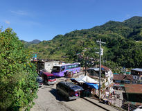 Buses at the Banaue town in Ifugao, Philippines Stock Photo