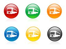 Buses in buttons. On isolated background Stock Photography