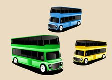 buses 3d style, colored, set. Green, yellow, green colors Stock Photos