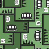 Buses and fir trees, seamless pattern royalty free illustration