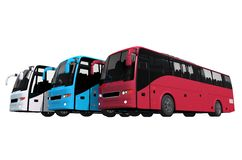 Buses Fleet Isolated Stock Images