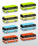 Buses in four colors Royalty Free Stock Photo