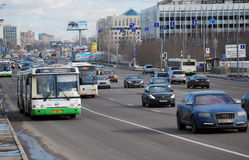 Buses move on the allocated strip on Volokolamskoye Highway. Moscow Stock Photos