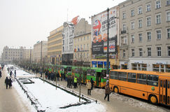 Buses parade in Poznan, Poland Stock Photography