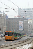 Buses parade in Poznan, Poland Royalty Free Stock Photo