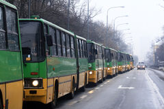 Buses parade in Poznan, Poland Royalty Free Stock Photography