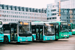 Buses Are Parked In Parking Lot On The Hobujaama Street In Tallinn Royalty Free Stock Image