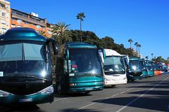 Buses parking royalty free stock photos