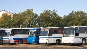 Buses on parking. Some different buses on parking expect time of trip Royalty Free Stock Photography