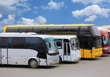 Buses on parking. Big tourist buses on parking Royalty Free Stock Photos