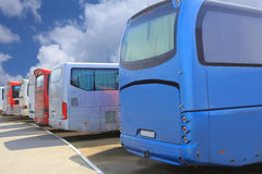 Buses on parking. Bus station with the parked buses Royalty Free Stock Photo