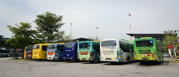 Buses parking at the main bus station in Putrajaya, Malaysia Royalty Free Stock Images