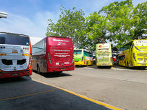 Buses parking at Melaka Sentral, Melaka, Malaysia. Melaka, Malaysia - April 20, 2017: Buses parking at Melaka Sentral  which is the largest public transportation Royalty Free Stock Photography