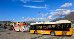 Buses on Piazzale Stazione square in Lugano, Switzerland Royalty Free Stock Photos