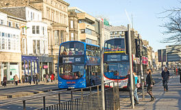 Buses on Princess Street, Edinburgh. Stock Photos