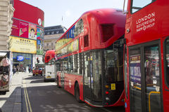 Buses que up at lights in piccadilly circus Royalty Free Stock Images