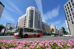 buses staden hiroshima Arkivbild