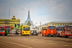 Buses on the street in front of the Ministry of Defense building royalty free stock photos