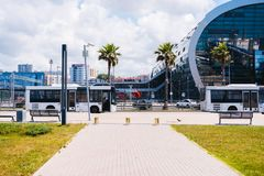 Bus station of a beautiful city with palm trees royalty free stock photo