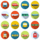 Buses, trams and trolleybuses vector icons Stock Images