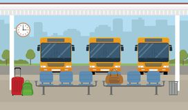 Buses and waiting area on city background. vector illustration