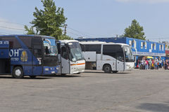 Buses at the waiting room of passengers following a single ticket in the parking lot in the port of Crimea Stock Photos