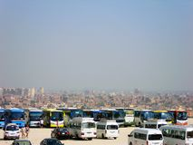 Buses - waiting for tourists near the Great Pyramid of Giza in Cairo, Egypt stock image