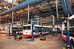 Buses in workshops in Depot Hostivar, Prague Stock Images