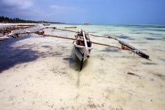 Bush africa coastline boat pirague in the  lagoon relax  of zanz Stock Photography