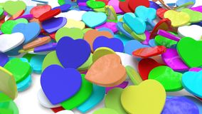 The bush background with different colored hearts, 3d rendering. The bush background with different colored hearts, 3d render vector illustration
